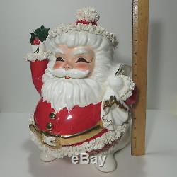 Vtg Napco Large 13 Santa Claus Christmas Planter Spaghetti Trim ILX 3741/R