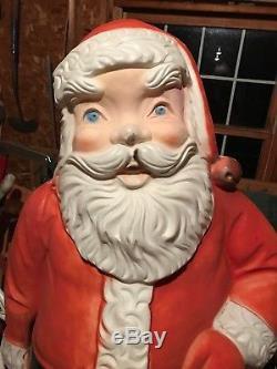 Vtg Poloron Blow Mold Santa Claus 5 Tall Christmas Lighted Yard Decoration