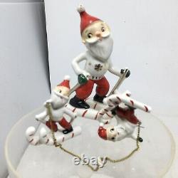 Vtg Set 3 Skiing Santa Claus Figurines Made In Japan Mid Century