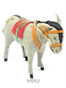 WA25 Antique Santa Claus Donkey Mule Papermache Christmas Figure german 1920's
