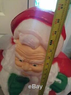 Whispering FINGER Santa Claus Lighted Christmas Blow Mold Yard Decor 50