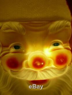 XL 36 Vtg Empire Plastic X-mas Santa Claus Face Blow Mold Light Pick Up Only